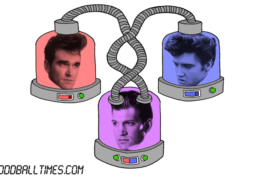 A cartoon of three pods with Morrissey, Elvis Presley, and Chris Issak's heads in them. By Oddball Times