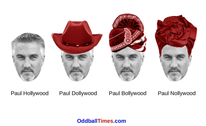 An image of Paul Hollywood, Paul Dollywood, Paul Bollywood, and Paul Nollywood. By Oddball Times