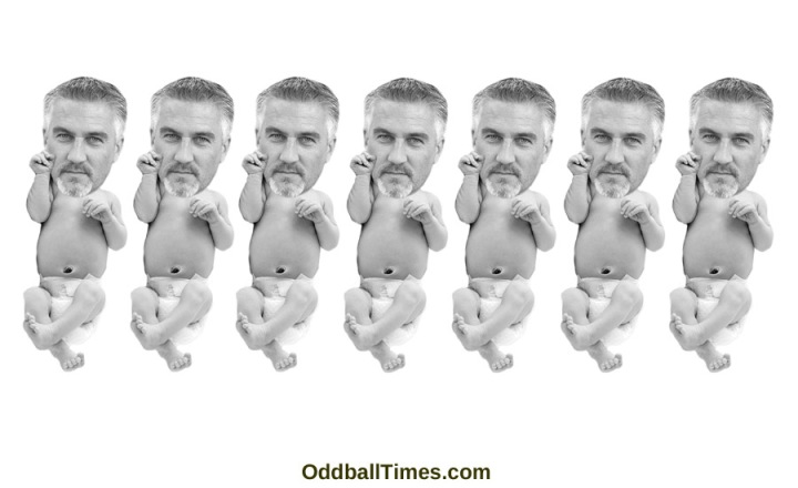 An image of Paul Hollywood as a baby by Oddball Times