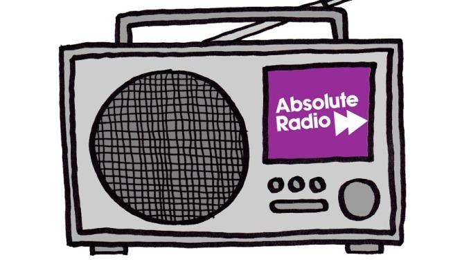 A cartoon illustration of a DAB radio playing Absolute Radio. By Oddball Times