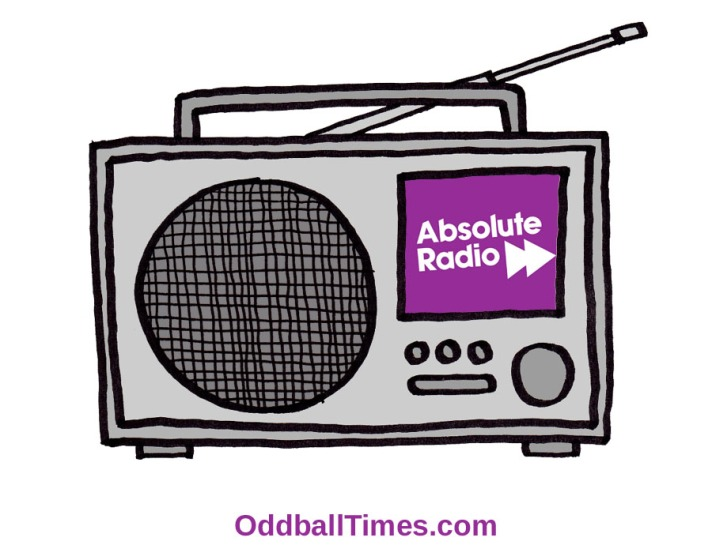 A cartoon illustration of a DAB radio playing Absolute Radio. By Oddball Times