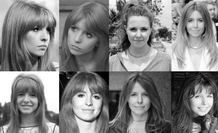 Photographs of Jane Asher and Stacey Dooley showing their facial similarities