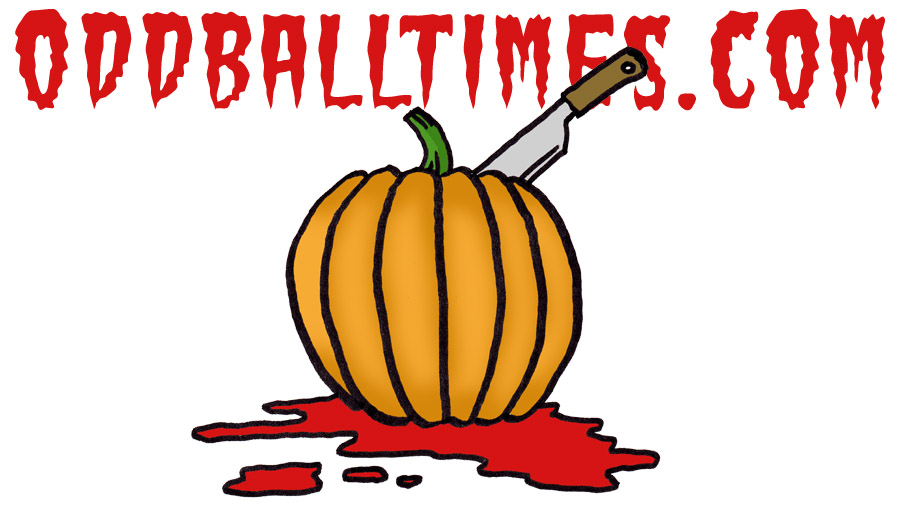A cartoon illustration of a pumpkin with a carving knife and blood on the floor to signify Halloween. By Oddball Times