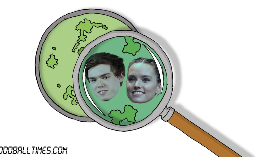 A cartoon of a Petri dish with Daisy Ridley and Rhys James inside. By Oddball Times