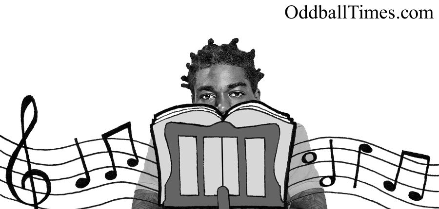 Kodak Black hiding behind a music stand. By Oddball Times