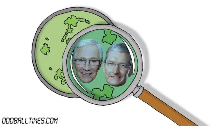 A cartoon of a Petri dish with Paul O'Grady and Tim Cook inside. By Oddball Times