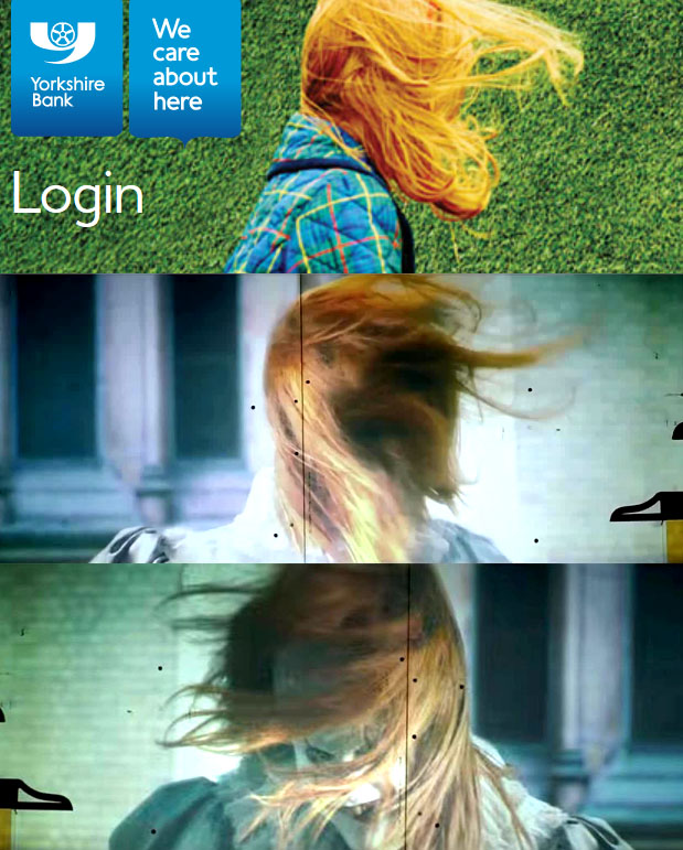 A comparison of the Yorkshire Bank login image with the projector scene from IT