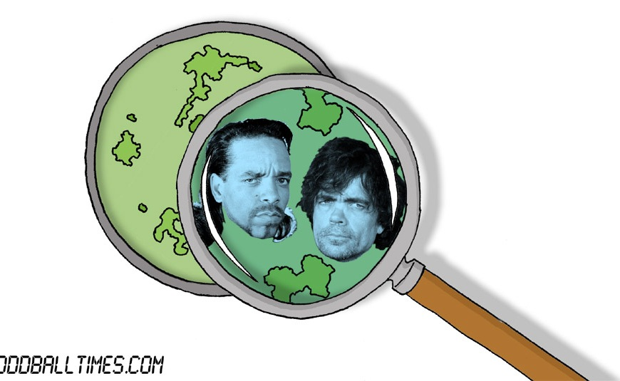 A cartoon of a Petri dish with Ice-T and Peter Dinklage inside. By Oddball Times