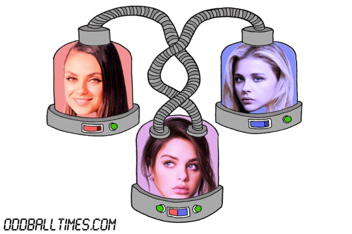 A cartoon of three pods with Mila Kunis, Chloe Grace Moretz, and Odeya Rush's heads in them. By Oddball Times