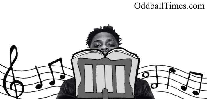 YXNG Bane hiding behind a music stand. By Oddball Times