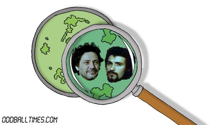 A cartoon of a Petri dish with Jeremy Dyson and Peter Sutcliffe the Yorkshire Ripper inside. By Oddball Times