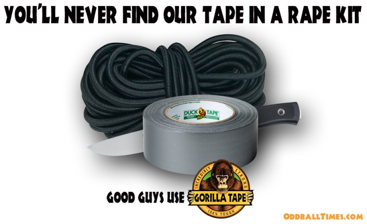 Rope, duct tape, and a knife in a parody advert for Gorilla Tape. By Oddball Times