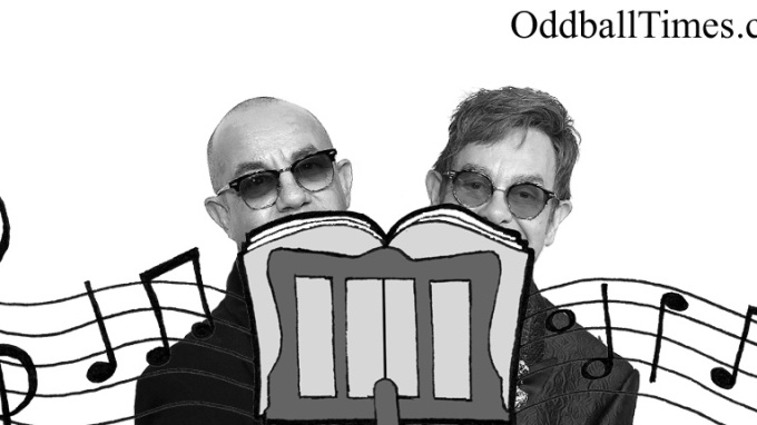 Elton John and Bernie Taupin hiding behind a music stand. By Oddball Times