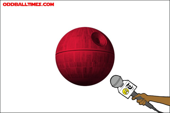 The Japanese flag with the Death Star in the centre being interviewed by an Oddball Times microphone