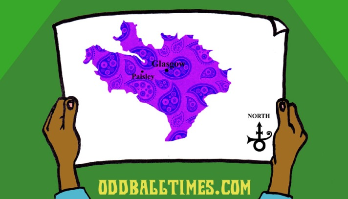 A cartoon of a map showing Paisley Park and the Prince symbol. By Oddball Times