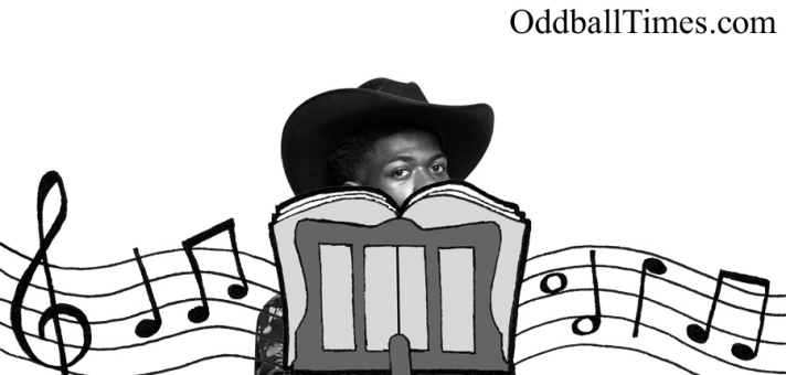 Lil Nas X hiding behind a music stand. By Oddball Times