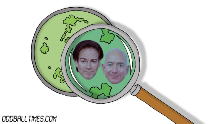 A cartoon of a Petri dish with Peter Safran and Jeff Bezos inside. By Oddball Times