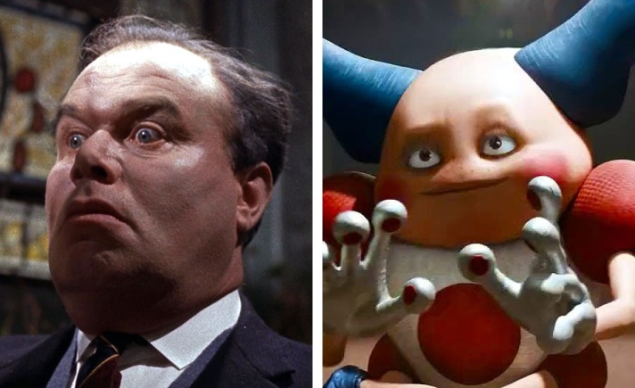 An image of actor Peter Bull alongside Mr. Mime to show their facial similarities. By Oddball Times