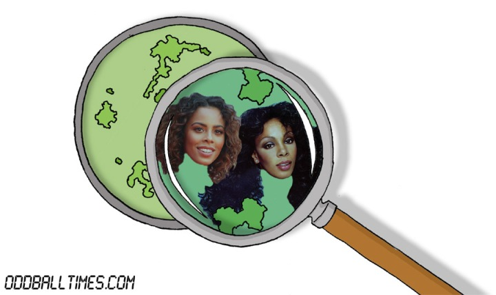 A cartoon of a Petri dish with Rochelle Humes and Donna Summer inside. By Oddball Times