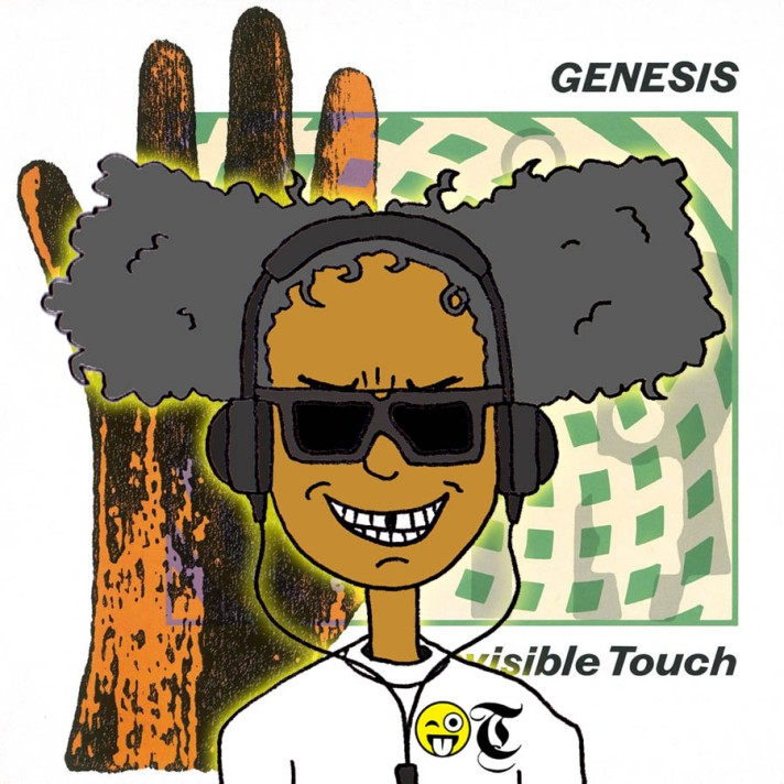 A cartoon of Specky Third Eye listening to Invisible Touch by Genesis