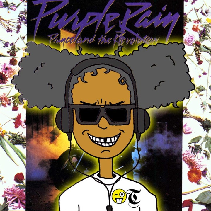 A cartoon of Specky Third Eye listening to Purple Rain by Prince