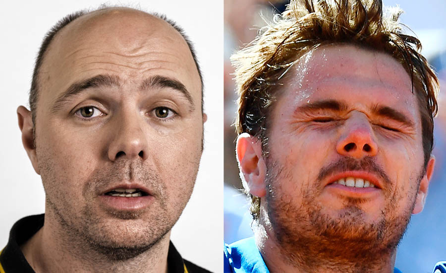 A side by side image of Karl Pilkington and Stan Wawrinka