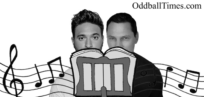 Jonas Blue and Tiesto hiding behind a music stand. By Oddball Times
