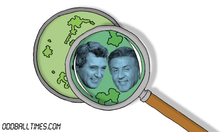 A cartoon of a Petri dish with Sylvester Stallone and Rock Hudson inside. By Oddball Times