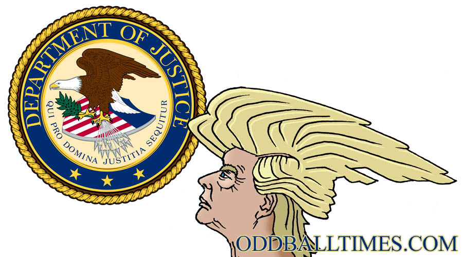 An image of Donald Trump looking at the department of justice seal. By Oddball Times