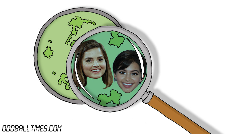 A cartoon of a Petri dish with Isabela Moner and Jenna Coleman inside. By Oddball Times