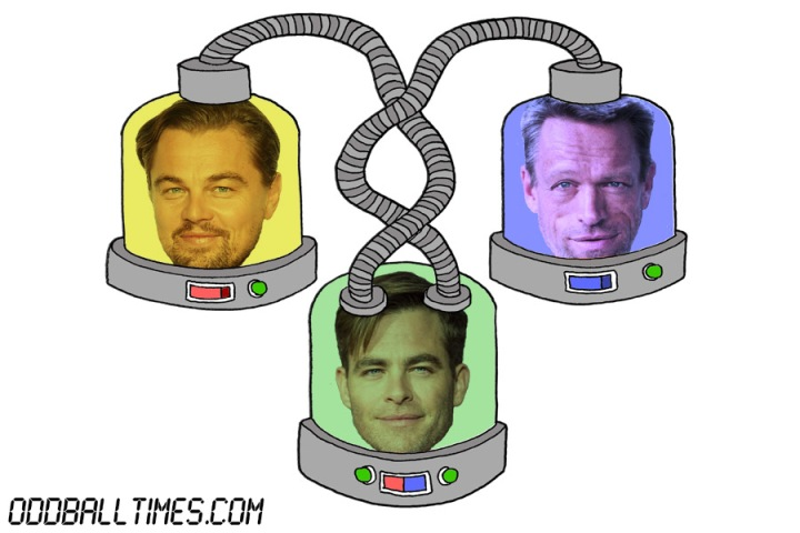 A cartoon of three pods with Leonardo DiCaprio, Brian Thompson and Chris Pine's heads in them. By Oddball Times