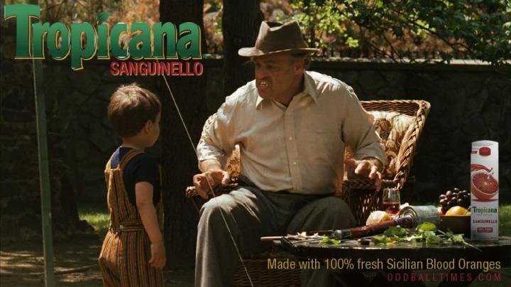 Ad for Tropicana Sanguinello orange juice featuring Marlon Brando as Don Vito Corleone. By Oddball Times