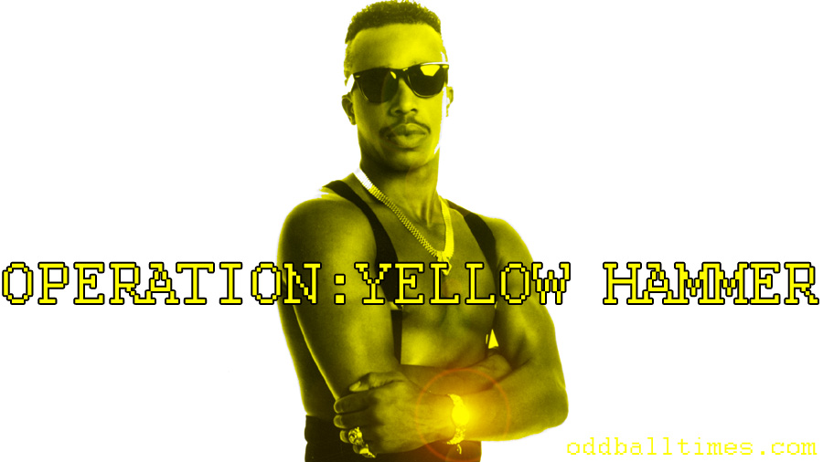 An image of MC Hammer with yellow skin and text Operation: Yellow Hammer