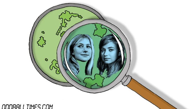 A cartoon of a Petri dish with Imogen Poots and Helen Mirren inside. By Oddball Times