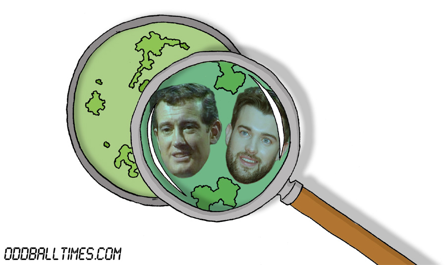 A cartoon of a Petri dish with John Quayle and Jack Whitehall inside. By Oddball Times
