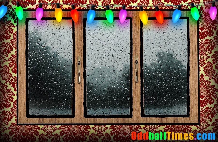An image of a room with Christmas lights and a window showing rain outside. By Oddball Times
