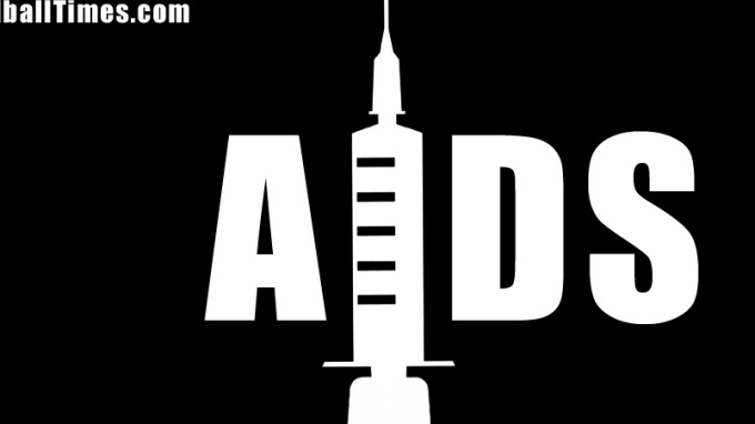 A logo for AIDS incorporating a syringe. By Oddball Times