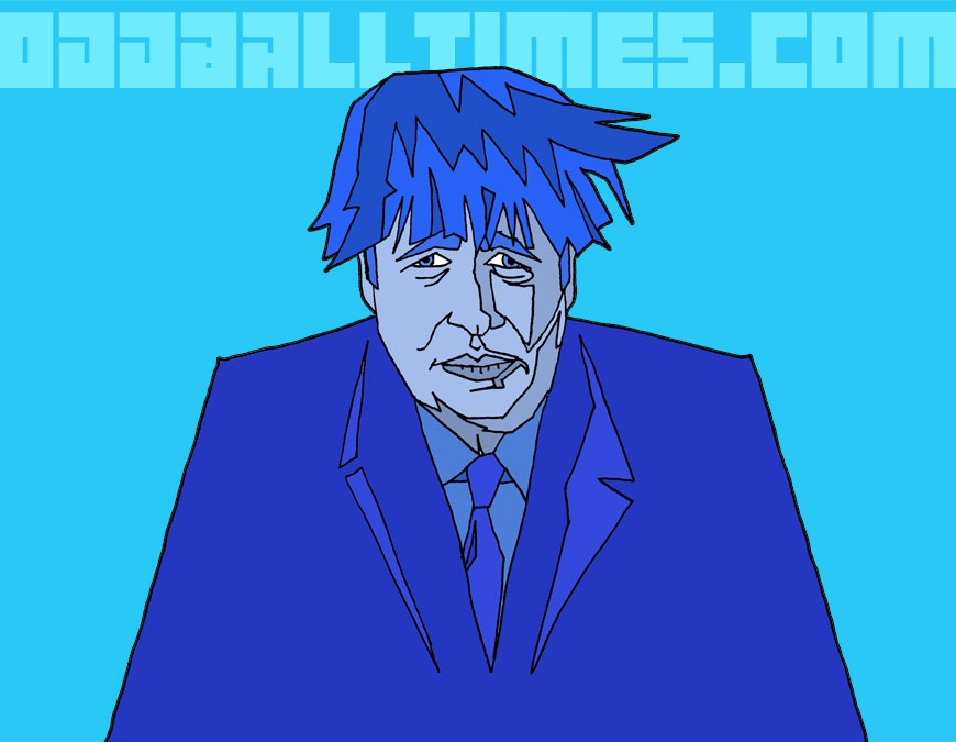 A caricature of Boris Johnson in blue by Oddball Times