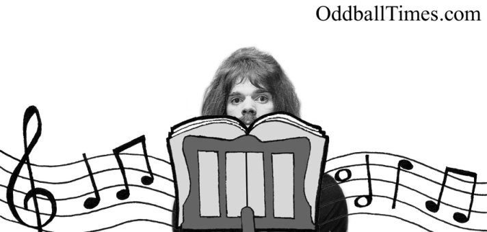 Roy Wood of The Move hiding behind a music stand. By Oddball Times