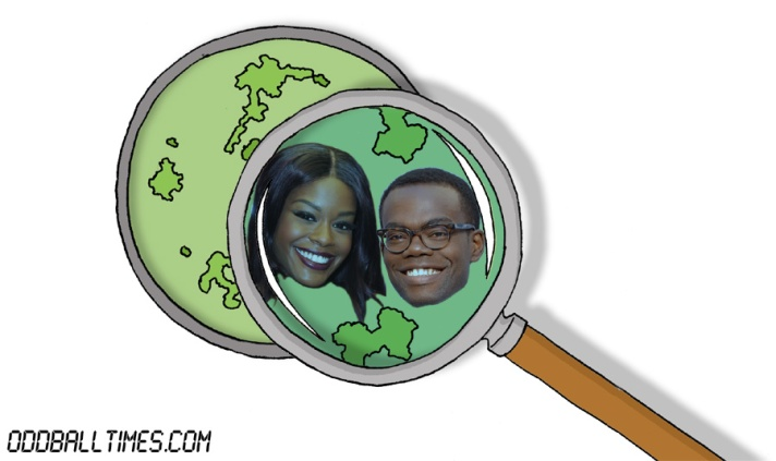 A cartoon of a Petri dish with Azealia Banks and William Jackson Harper inside. By Oddball Times