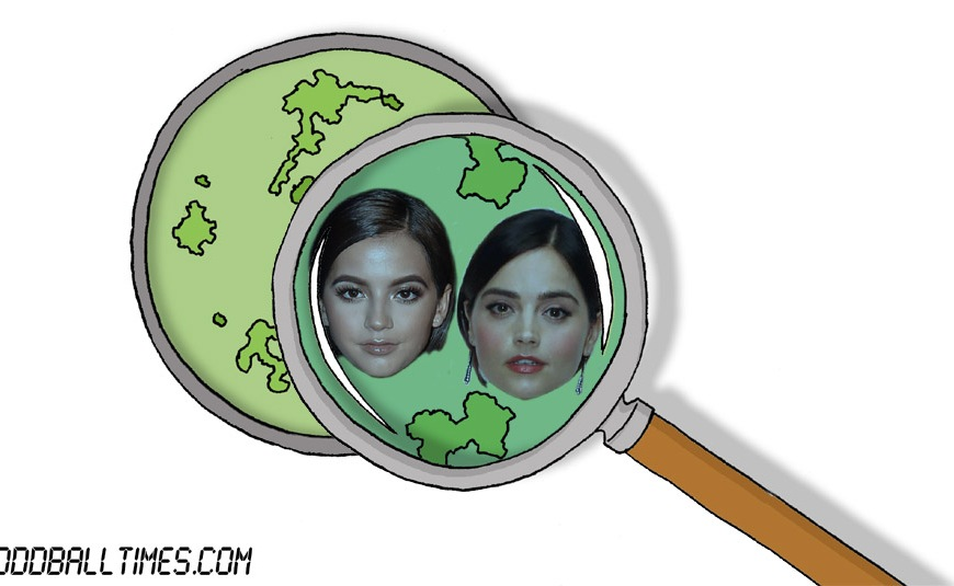 A cartoon of a Petri dish with Isabela Merced and Jenna Coleman inside. By Oddball Times