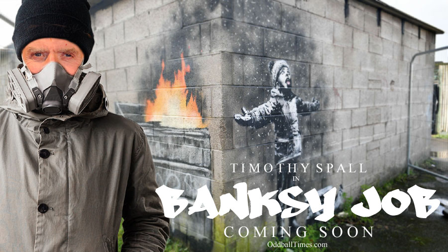 A movie poster for a Banksy biopic starring Timothy Spall