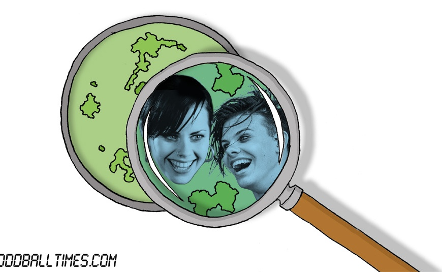 A cartoon of a Petri dish with Yungblud and Fairuza Balk inside. By Oddball Times