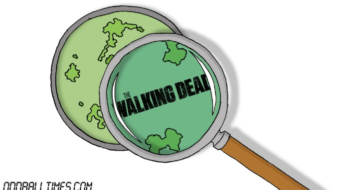 A cartoon of a Petri dish with The Walking Dead logo inside. By Oddball Times