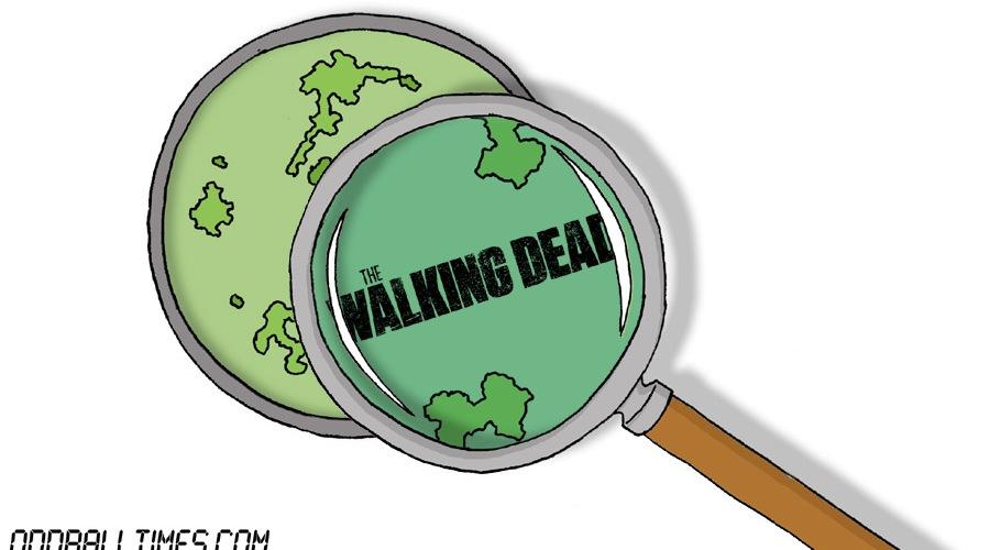 A cartoon of a Petri dish with The Walking Dead logo inside. By Oddball Times