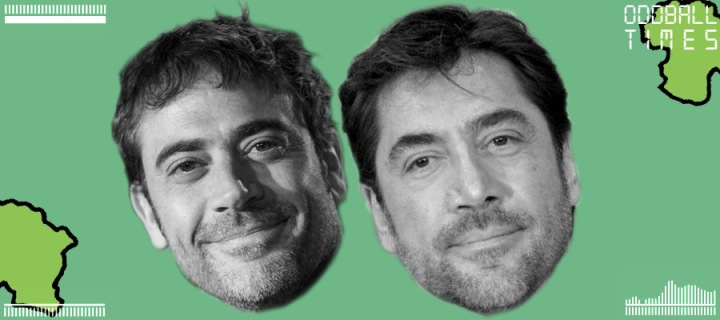 An image of Jeffrey Dean Morgan and Javier Bardem under a microscope