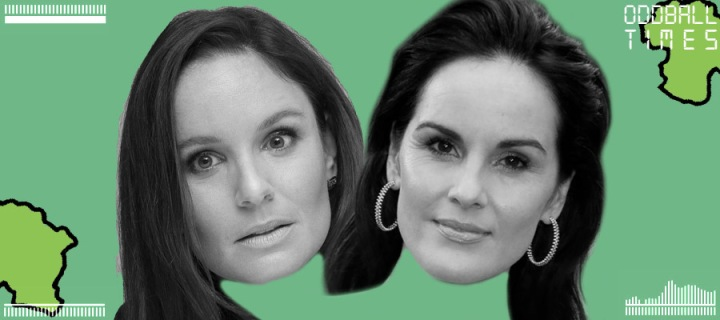 An image of Sarah Wayne Callies and Michelle Dockery under a microscope