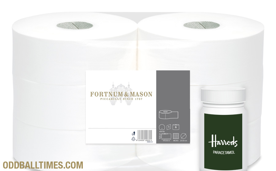 A parody image of Harrods paracetamol and Fortnum & Mason toilet paper