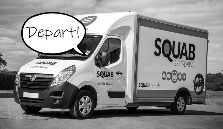 "A picture of a self-drive van with a speech bubble reading ""depart"""