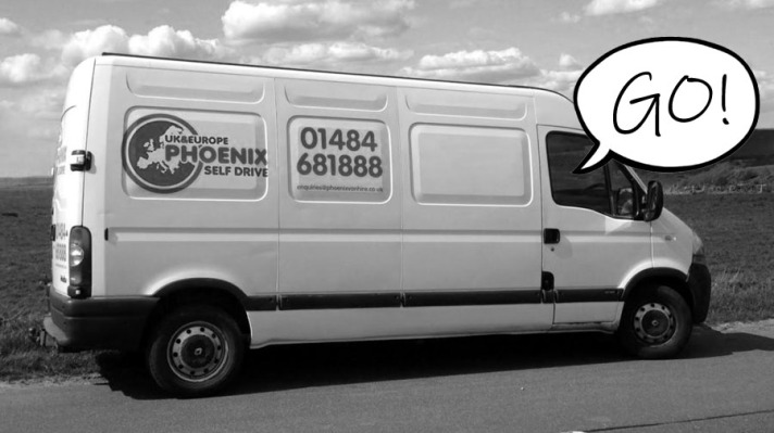 "A picture of a self-drive van with a speech bubble reading ""go"""